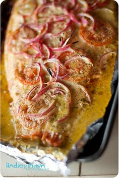 lemon butter dill salmon with red onion & roma tomatoes