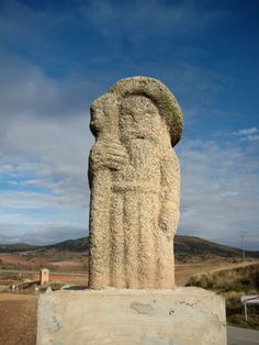 A way-marker on the pilgrim road to Santiago de Compostella in northwest Spain representing St James himself as a Santiago pilgrim. Photo by John Savelid.