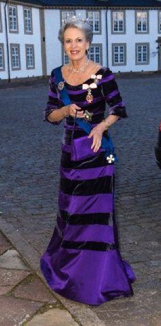 Princess Benedikte attends a gala dinner on 4 April 2013 at Fredensborg Castle