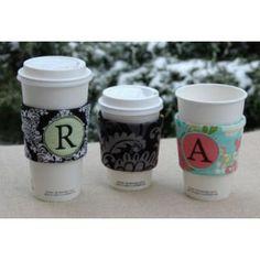 "In The Hoop :: Beverage & Food :: Monogram Coffee Sleeves - Embroidery Garden   Unique ""in the hoop"" machine embroidery design files"
