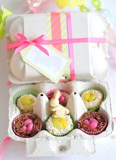 Easter egg box filled with sweet treats.