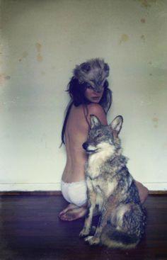 wolf   wolf mask   woman   posing   playful   bare   fun   totem  
