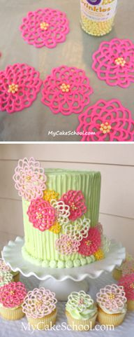 How to make easy chocolate flowers for decorating cakes and cupcakes (My Cake School).