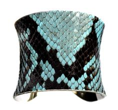 Blue Snakeskin Silver Lined Cuff Bracelet  by by UNEARTHED on Etsy,