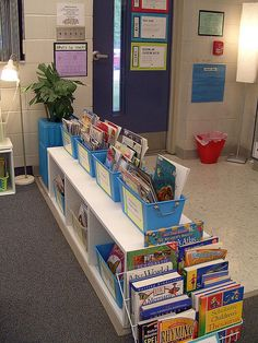Classroom library-- note lighting and reference book holder at the end of the shelves