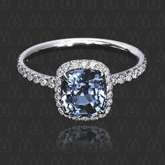 "Halo ring ""Rachael"" with blue spinel by Leon Mege"