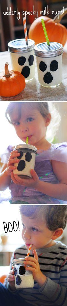 Udderly cute ghost milk cups made from mason jars and duck tape! From @familyfun #everydayfun blog! #halloween #craft #kids