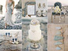 Grey beach wedding inspiration board
