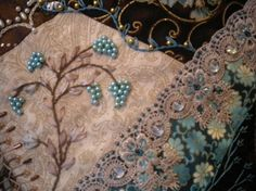 embroidery crazy quilt   embroidery~stitches~beads~crazy quilting / blue