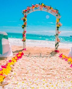 Sunset beach wedding photos shoot, beach wedding arch decoration www.loveitsomuch.com