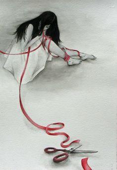 art worth, art tattoo, ribbons, amaz art, toiea, red ribbon, red string, red thread, fate