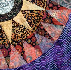 "Close up, ""Melting Pot"" by Jana Schmitt, posted at Wonky World.  Batiks and Kaffe Fassett fabrics"