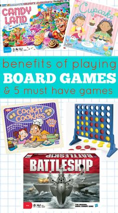 Great list of what kids are learning when they are playing board games. List of must have games too.