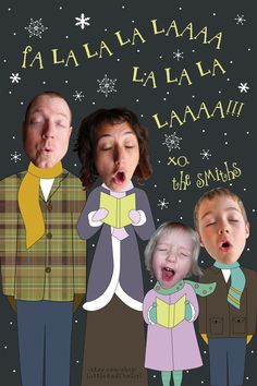 Caroling - Family Photo Holiday Card - Custom Made Just For You--I lala love this <3