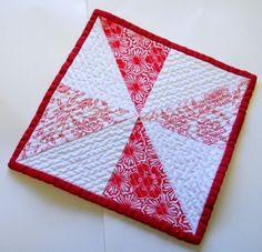 Pinwheel Mug Rug Red White Snack Mat Triangles by atthebrightspot, $15.00