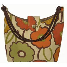 Cream Floral Canvas Handbag / Hobo, Medium 'Jade' ($30) found on Polyvore