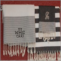 Love these monogrammed Fouta Turkish towels, available at SOUTH The Shop in Chapel Hill and online!