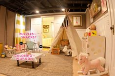 basement // playroom inspiration and ideas // love the exposed ceiling that's painted