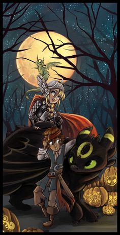 HTTYD Halloween by *sharpie91  Toothless is Umbreon from Pokemon, Astrid is Thor and I think Hiccup is just a plain old pirate :D