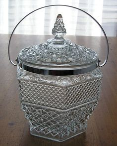 Vintage Anchor Hocking Crystal-Wexford Glass Ice Bucket with Lid & Chrome Handle
