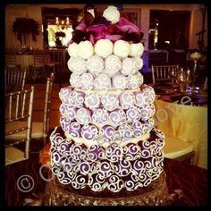 Ombre Cake Ball Cake cake idea, cake ball, cake design, cupcak tower, cake pops, purple cakes, ball cake, cupcake towers, ombr cake