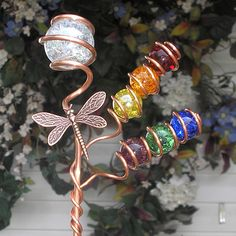 Rainbow Dragonfly Metal Plant Stake Copper Garden Art Yard Decor Glass Handmade
