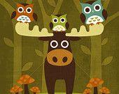 86R Retro Owls and Moose 6x6 Print