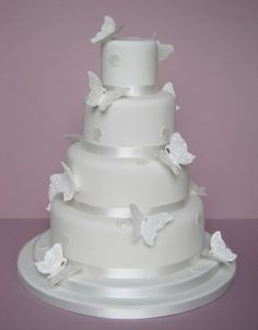 Lace Butterfly Wedding Cake