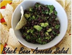 Black Bean Avocado Salad:  Easy and inexpensive side dish to tacos, enchiladas, or any mexican dish.