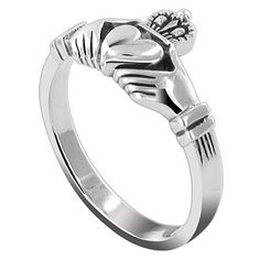Sterling Silver 10mm Claddagh Friendship and Love 3mm Band Ring Size 5, 6, 7, 8, 9, 10, 12