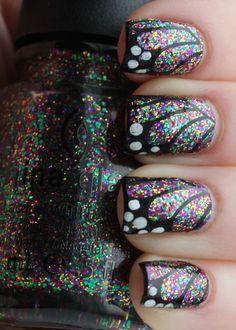 Glittery Butterfly Wing Manicure