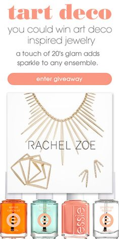 #RePin and Go #Win Art Deco Inspired #Jewelry and #Essie Nail Polish! #beauty #contest VALID UNTIL AUG 31