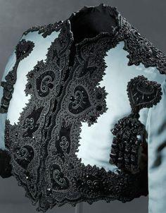 Close up of 1947 blue silk velvet Bolero ~ exquisite embroidery ~