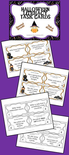 Halloween Literacy Task Cards - For 2nd and 3rd grade, 32 task cards in both color and black and white, focus on grammar, punctuation, contractions, correcting errors and misspellings of frequently used words