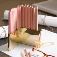 Coloured pencils and brass holder - $55 from RSH. Found via Arianna Belle.
