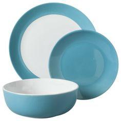 Room Essentials 12 Piece Stoneware Dinnerware Set - Teal