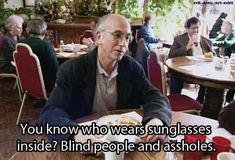 Larry David on sunglasses indoors (Curb Your Enthusiasm)