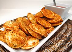 Baked ravioli gets crispy in the oven.  Great idea to serve it as an appetizer!