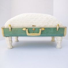 Pet Bed from Vintage 40s Suitcase  Seafoam Green by Spaghetteria, $75.00