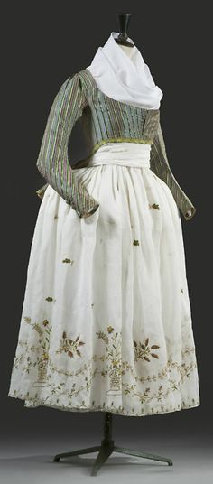 """""""Macaroni"""" jacket and embroidered skirt, late 18th century"""