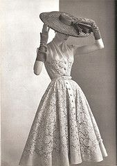 1950's hats, pierre balmain, vintage lace, the dress, glove, dress styles, lace dresses, 1950s fashion, sewing patterns