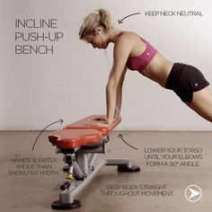 If you struggle with regular push-ups, Incline push-ups are the perfect way to start including push-ups into your workout routine. This variation still targets your arms, chest and core, and can be done on any stable surface at home or outdoors!