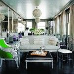 Living-dining space with mirrored French doors