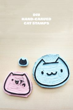 DIY hand carved cat stamps
