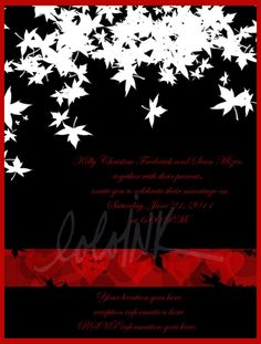 red white and black wedding invitation