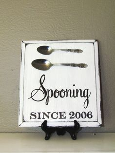 "Spooning Sign: ""Spooning Since YEAR""  Hand-painted Kitchen Sign with antique STAINLESS STEEL Spoons, Wedding/Engagement Gift on Etsy, $30.00"