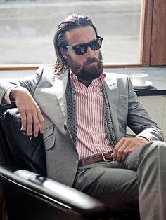long hair + beard