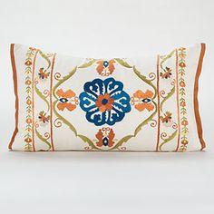 Calcutta Embroidered Lumbar Toss Pillow at Cost Plus World Market
