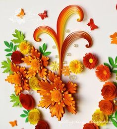 Autumn flowers quilling and husking