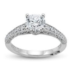 Tacori 18K White Gold Ladies Engagement Ring With Round Diamonds